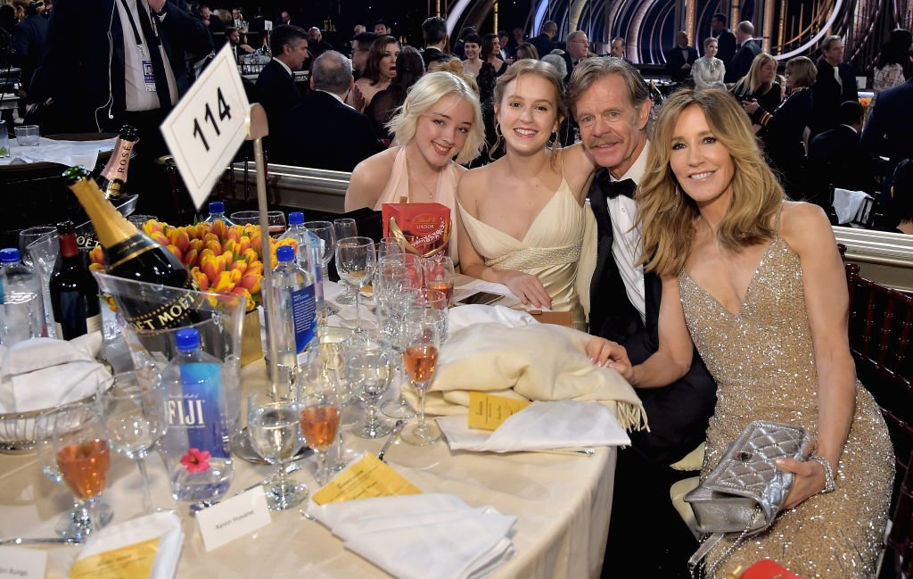 Sofia Grace Macy, Georgia Grace Macy, William H. Macy, and Felicity Huffman attend FIJI Water at the 76th Annual Golden Globe Awards at the Beverly Hilton in Los Angeles | Photo: Getty Images