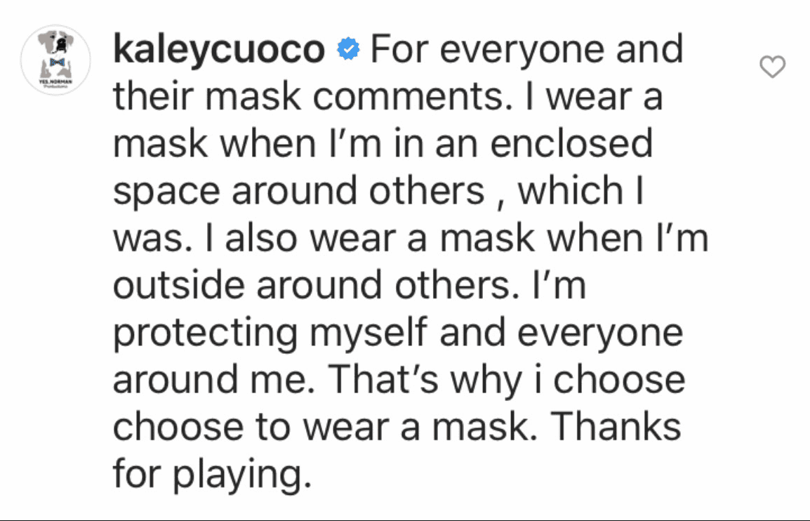 Kaley Cuoco claps back at a social media user for his negative comment on her exercise video.   Source: Instagram/kaleycuoco.