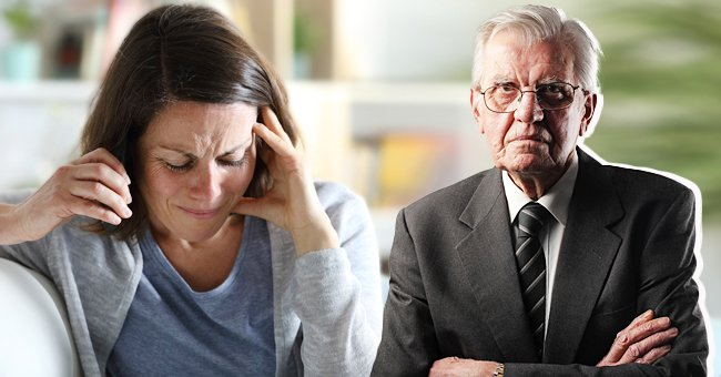 A woman looks upset while an old man is beside her. | Source: Shutterstock