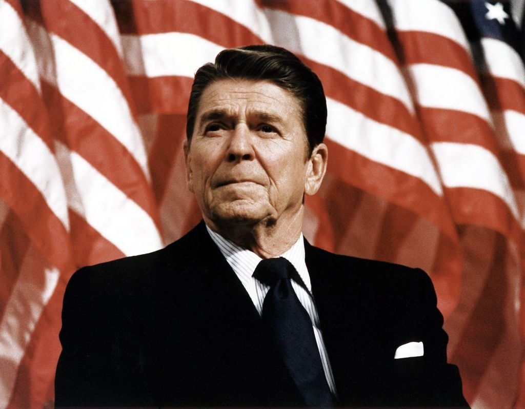 President Ronald Reagan at Durenberger Republican convention Rally, 1982   Photo: Getty Images