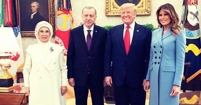 Melania Trump Opts to Go Bare-Legged as Shines in Gorgeous Baby Blue Coat While Meeting the Turkish President and His Wife