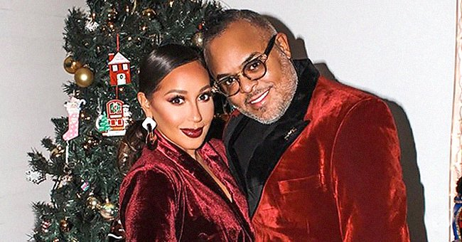 Adrienne Houghton & Husband Israel Houghton Wear Matching Red Velvet Suits in Photo