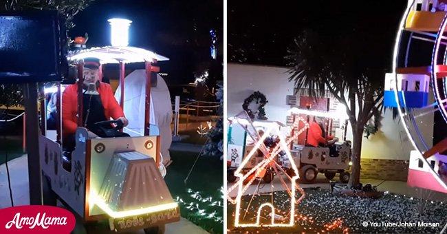 Un grand-père crée une ambiance de Noël: il organise un parc d'attractions pour enfants dans son jardin