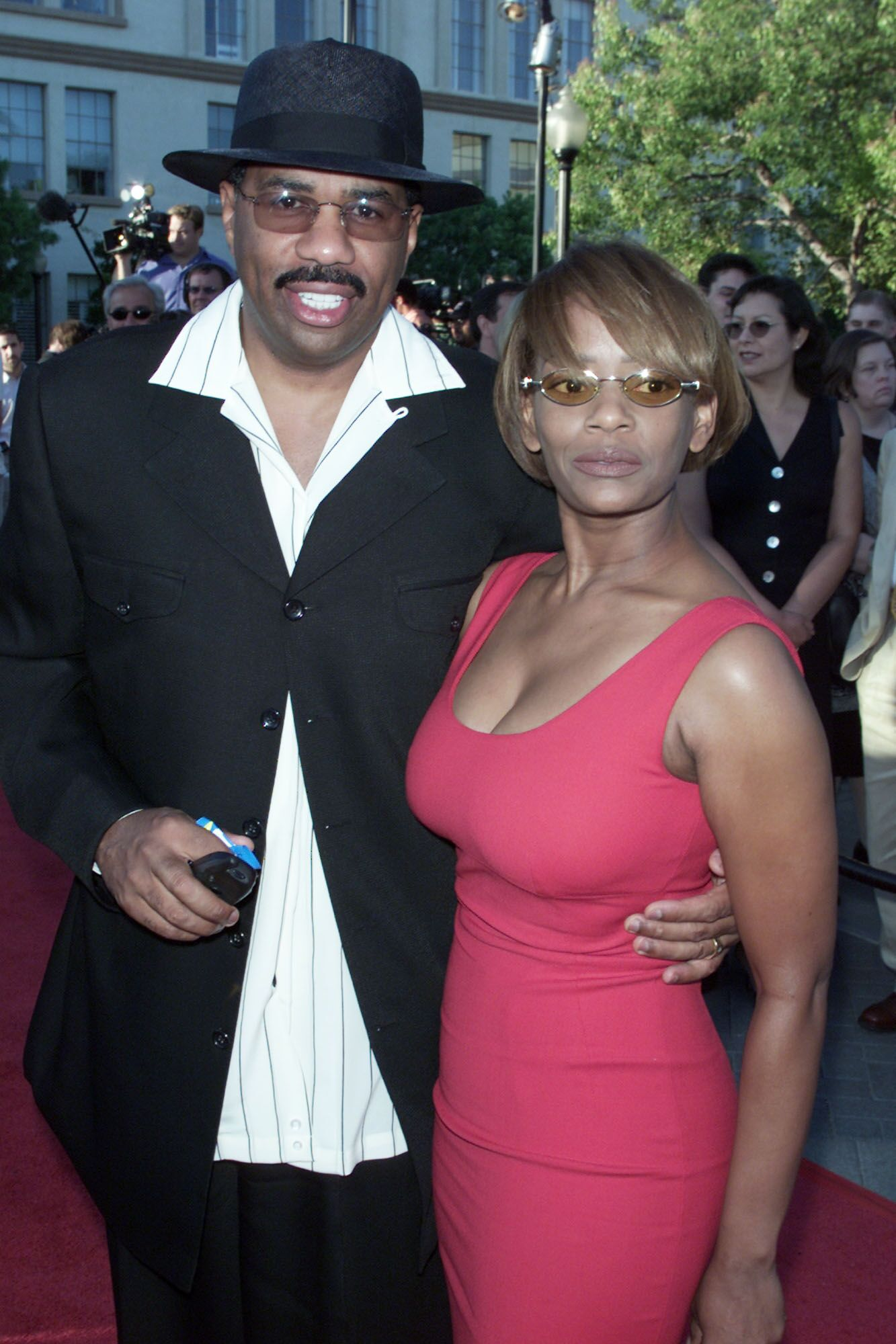 """Steve Harvey and Mary Lee Harvey at the premiere of """"The Score"""" at the Paramount Theater in Los Angeles. 