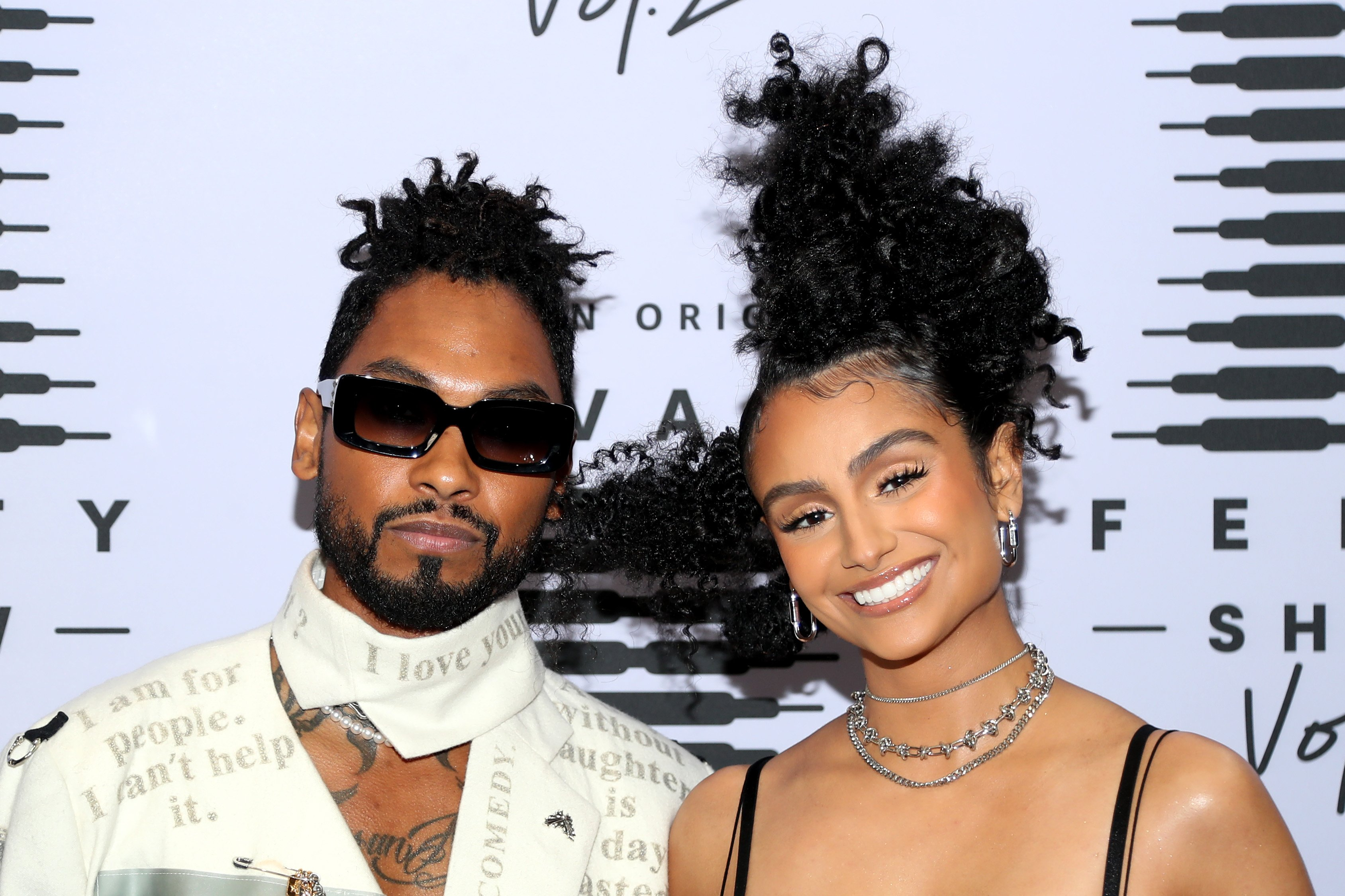 Nazanin Mandi and Miguel pose at Rihanna's Savage X Fenty Show Vol. 2 at the Los Angeles Convention Center; broadcast on October 2, 2020. | Photo by Jerritt Clark/Getty Images for Savage X Fenty Show Vol. 2