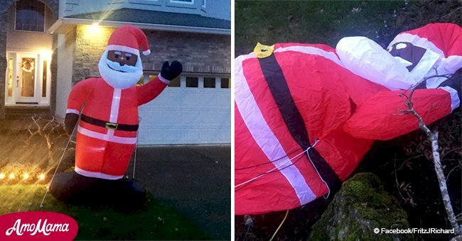 Unknown people brutally slash inflatable black Santa after family put it in their front yard