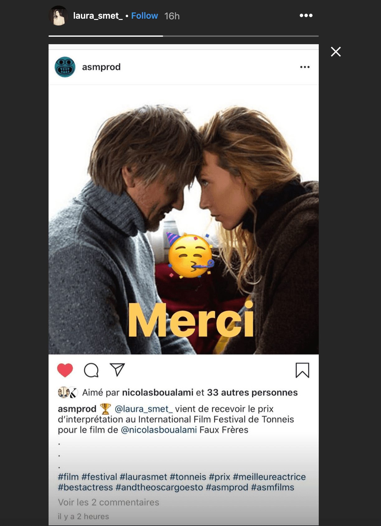 "Capture d'écran de Laura Smet sur la photo de la société de production Affreux, sales et méchants pour dire ""Merci"" à ses fans 