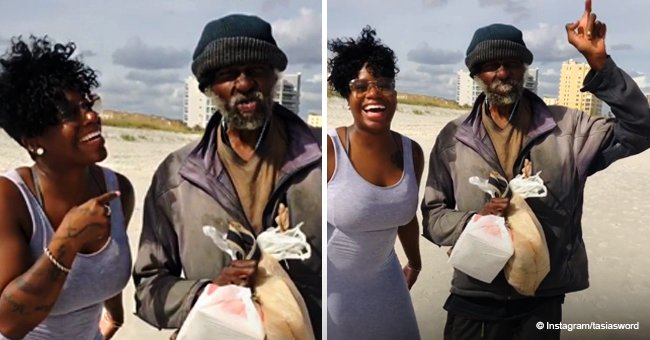 Fantasia Barrino helps homeless man on the beach & shares powerful message about being grateful