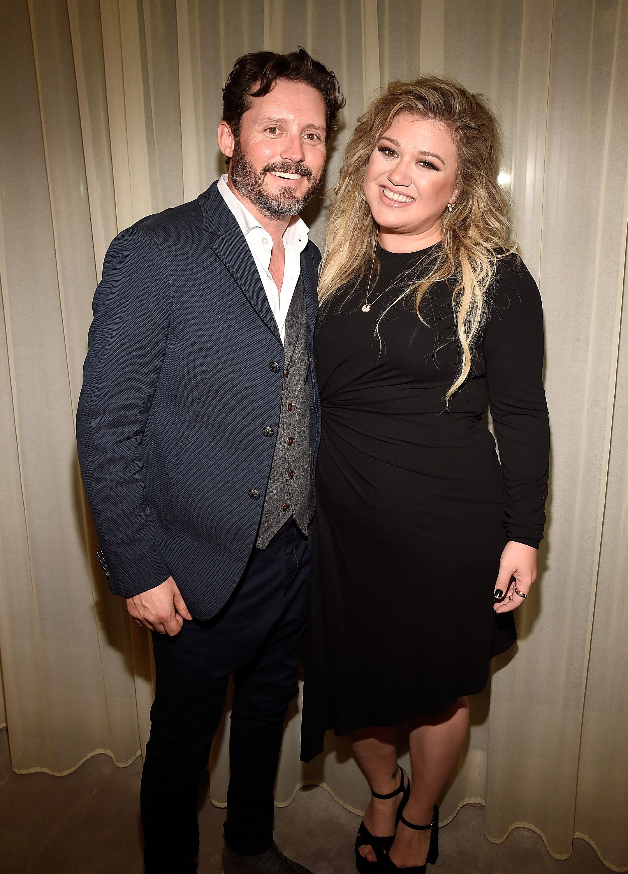 """Brandon Blackstock and Kelly Clarkson backstage after she performed songs from her new album """"The Meaning of Life"""" at The Rainbow Room on September 6, 2017 