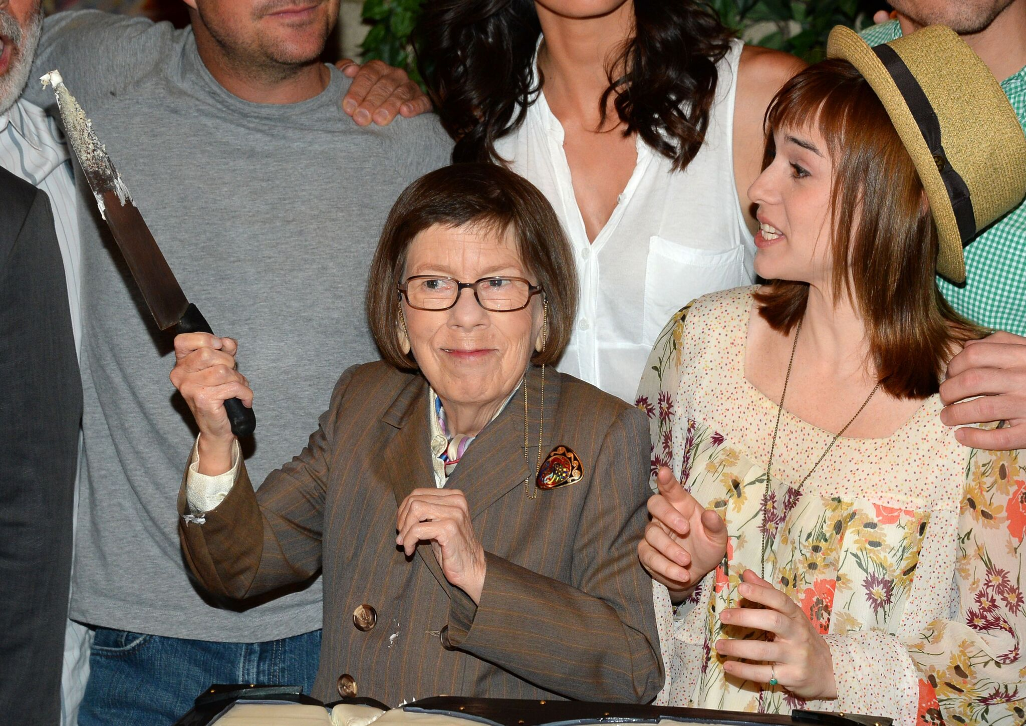 "Linda Hunt and Renee Felice Smith at the CBS' ""NCIS: Los Angeles"" celebration for filming the 100th episode 