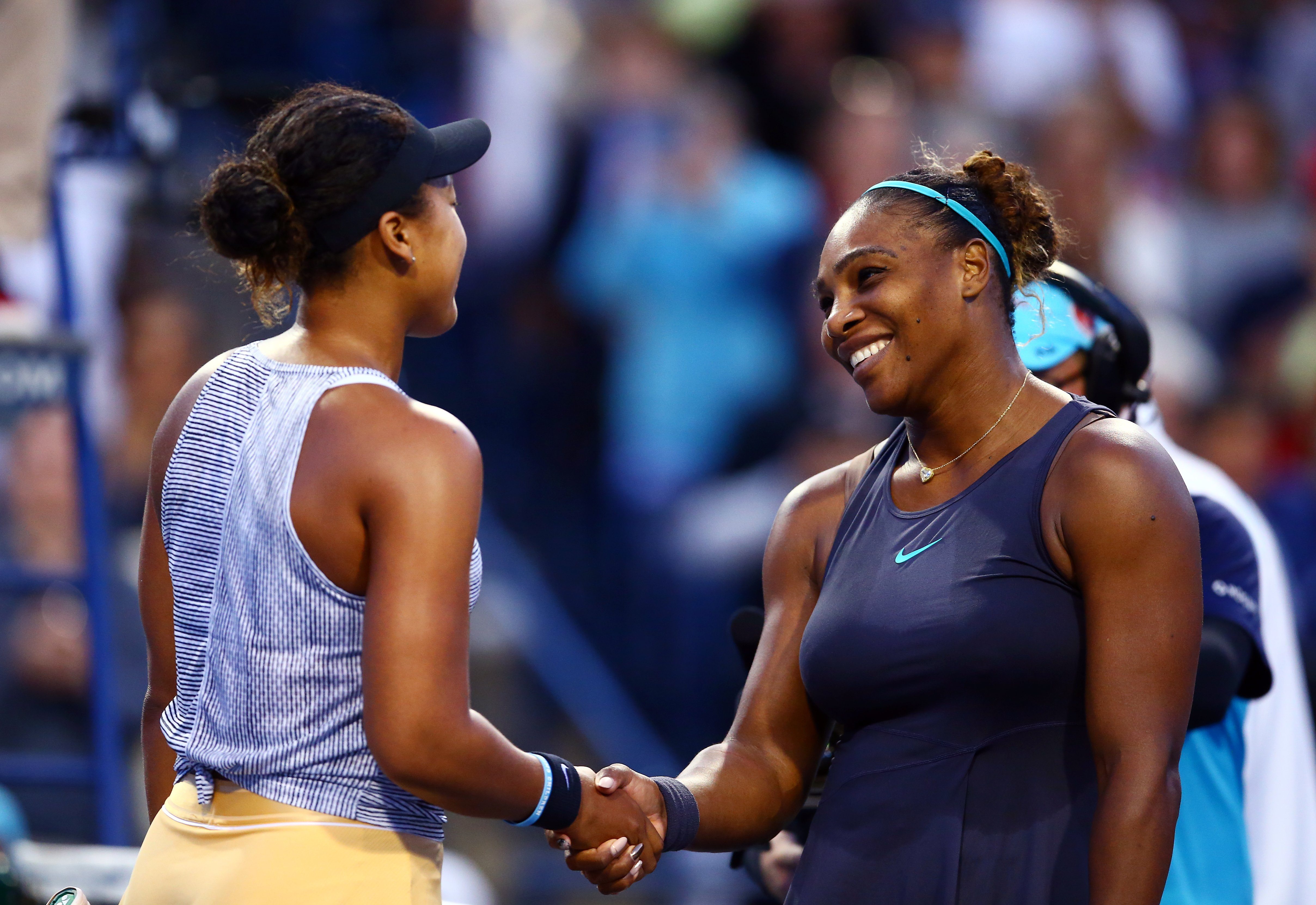 Serena Williams & Naomi Osaka shake hands following a quarterfinal match on Day 7 of the Rogers Cup in Toronto, Canada on Aug. 09, 2019.  Photo: Getty Images