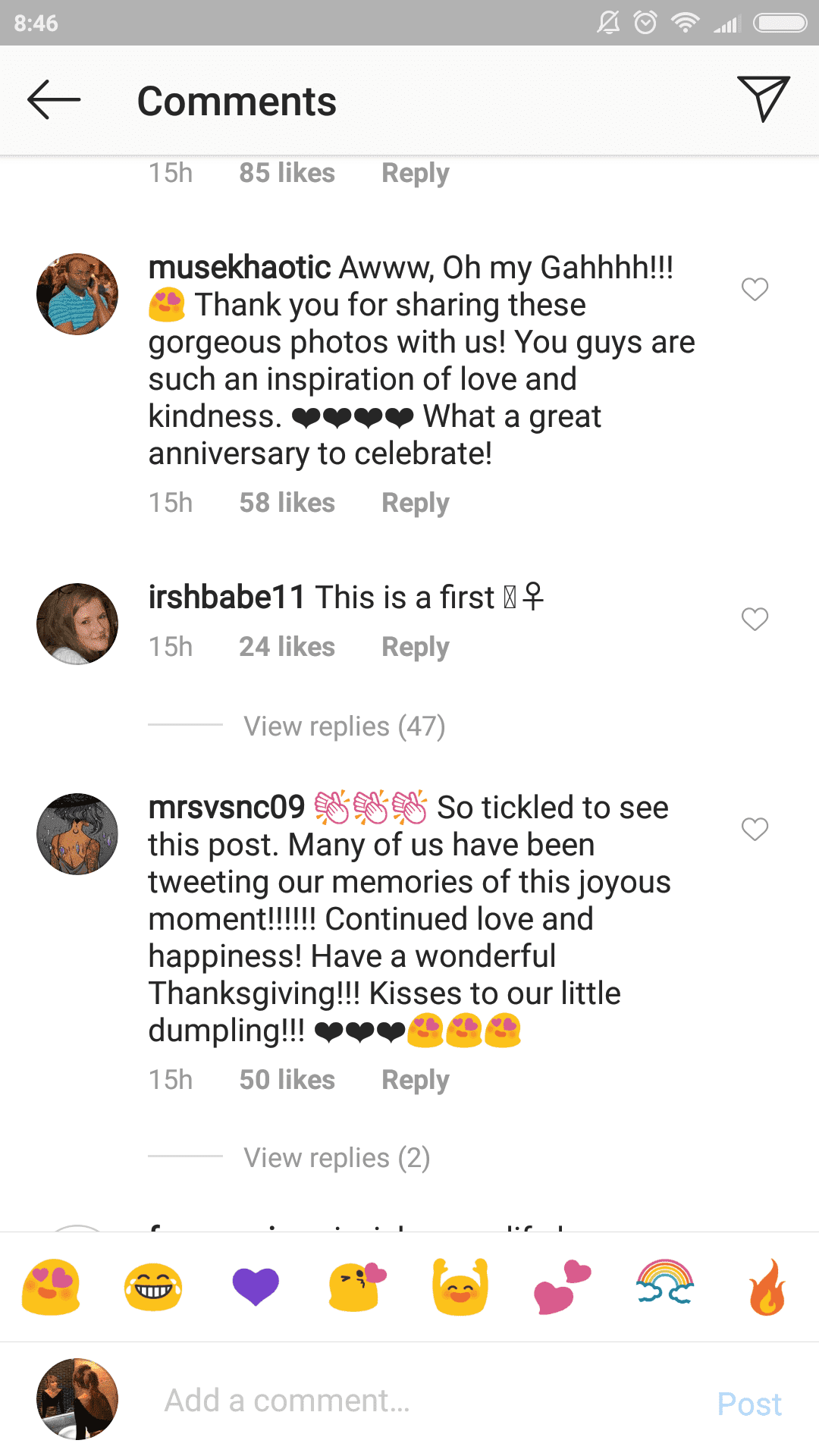 A screenshot of fans' comments on Prince Harry and Meghan's post.   Photo: Instagram.com/sussexroyal