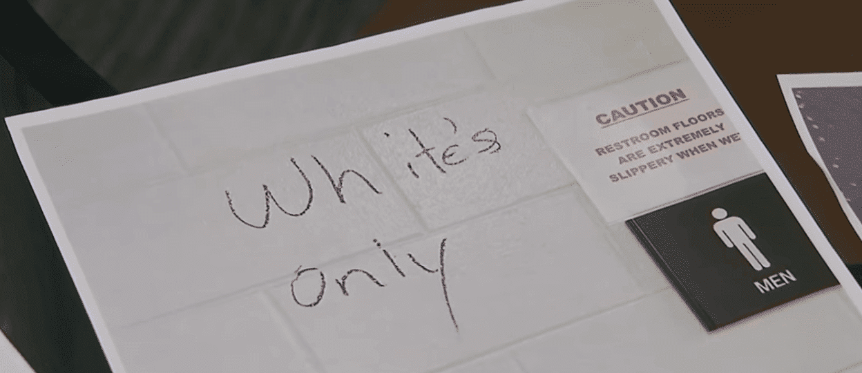 """White's only"" sign found scribbled on a bathroom wall. A clear message about black employees not being welcomed at the plant. 