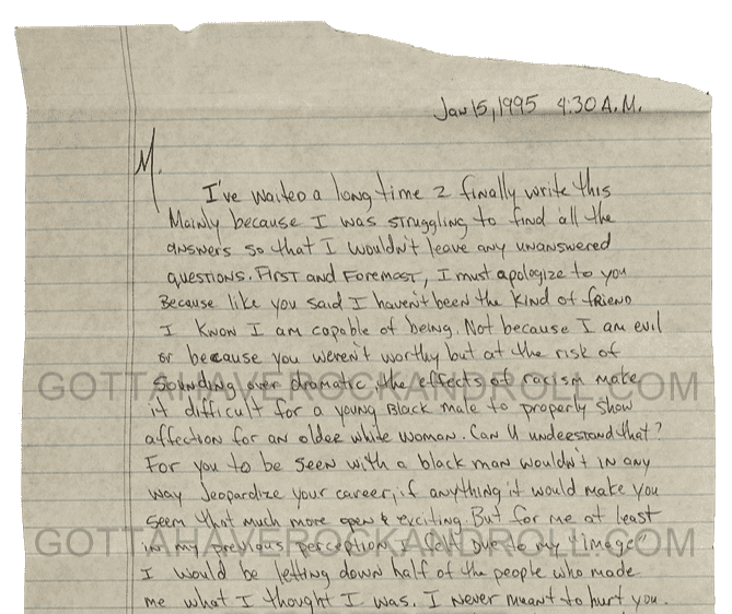 Excerpt from Tupac's letter on Gotta Have Rock and Roll's page. | Source: gottahaverockandroll.com