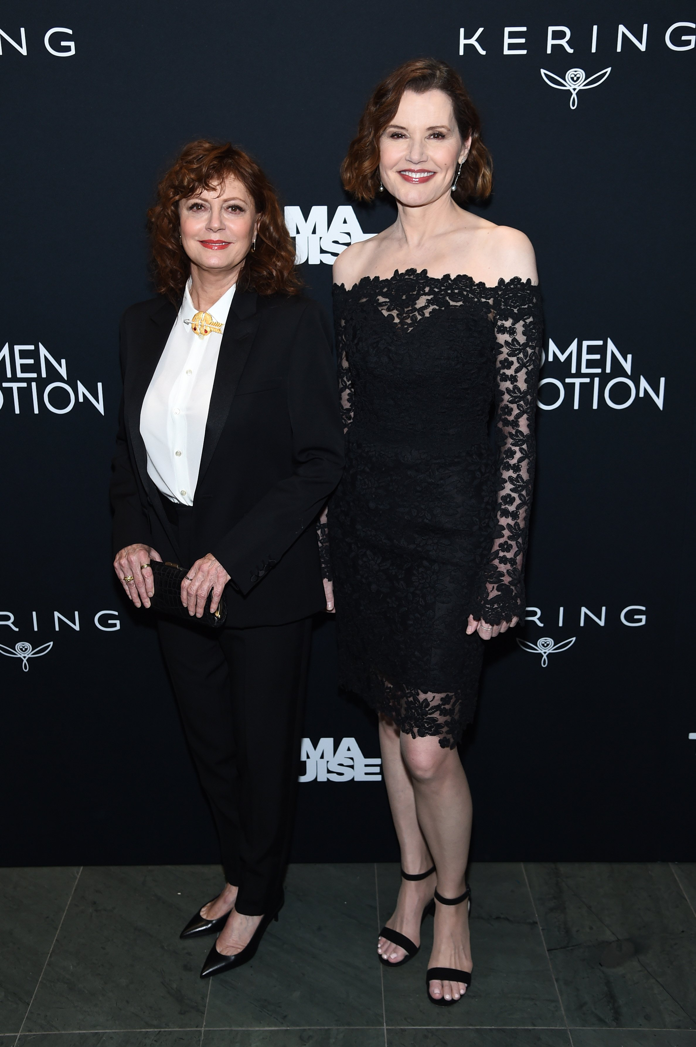 """Susan Sarandon and Geena Davis attend the screening of """"Thelma & Louise"""" Women In Motion on January 28, 2020, in New York City. 