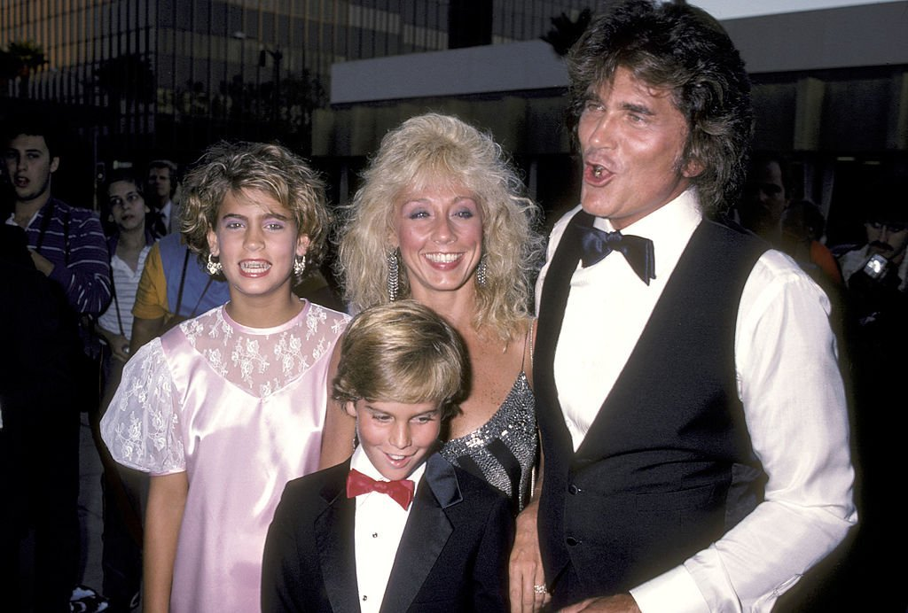"Actor Michael Landon, wife Cindy Landon and his kids Christopher Landon and Shawna Landon attend the ""Sam's Son"" Beverly Hills Premiere on August 15, 1984 
