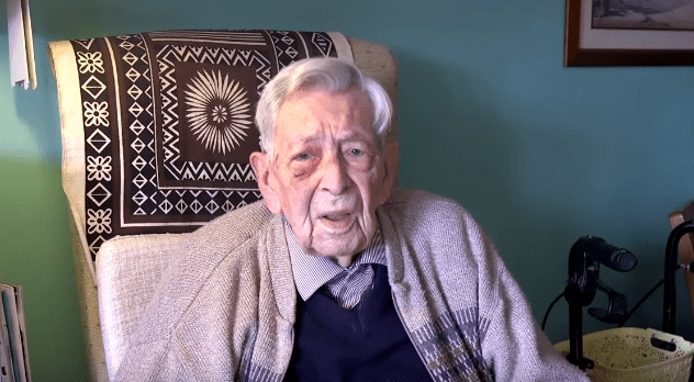 Bob Weighton during a segment for Guinness World Records as the world's oldest man on March 30, 2020.   Source: YouTube/ Guinness World Records