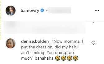 A screenshot of a fan's comment on Tia Mowry's post on her Instagram page | Photo: Instagram.com/tiamowry/