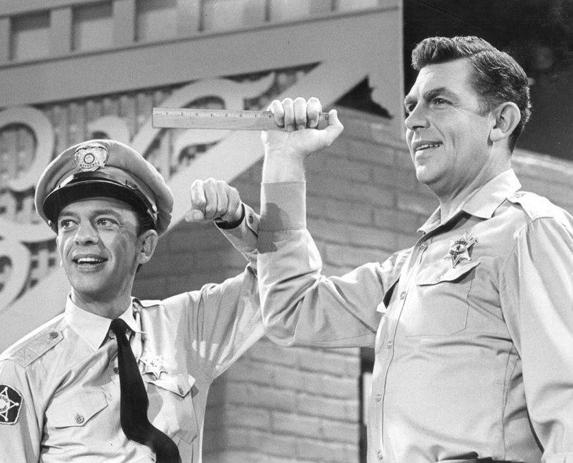 """Don Knotts and Andy Griffith as their characters during the 1965 variety special """"The Andy Griffith, Don Knotts, and Jim Nabors Show""""   Photo: Wikimedia Commons Images"""