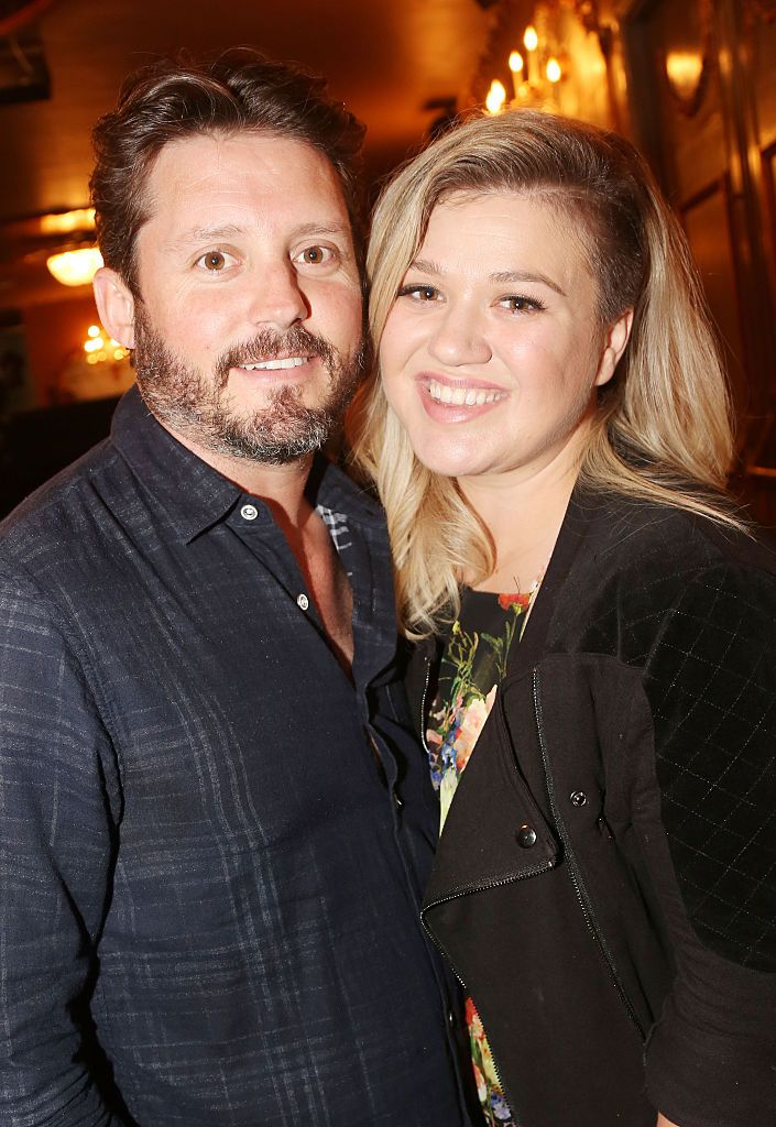 """Brandon Blackstock and Kelly Clarkson at the hit musical """"Finding Neverland"""" on Broadway on July 15, 2015, in New York City 