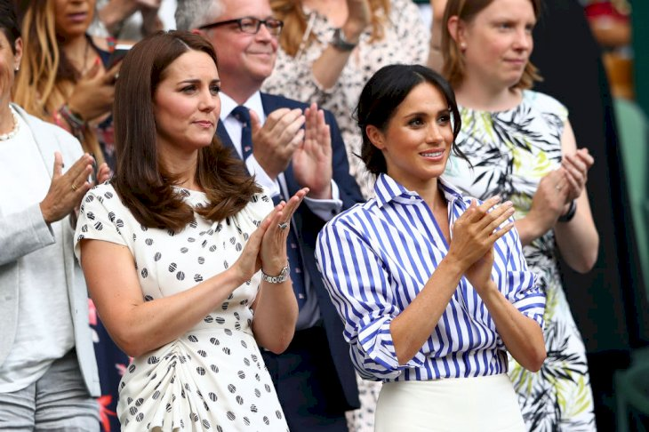 Catherine, Duchess of Cambridge and Meghan, Duchess of Sussex at the Wimbledon Lawn Tennis Championships Source |Photo: Getty Images