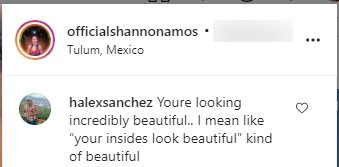 A fan's comment under a picture posted by Shannon Amos on her Instagram | Photo: Instagram/officialshannonamos