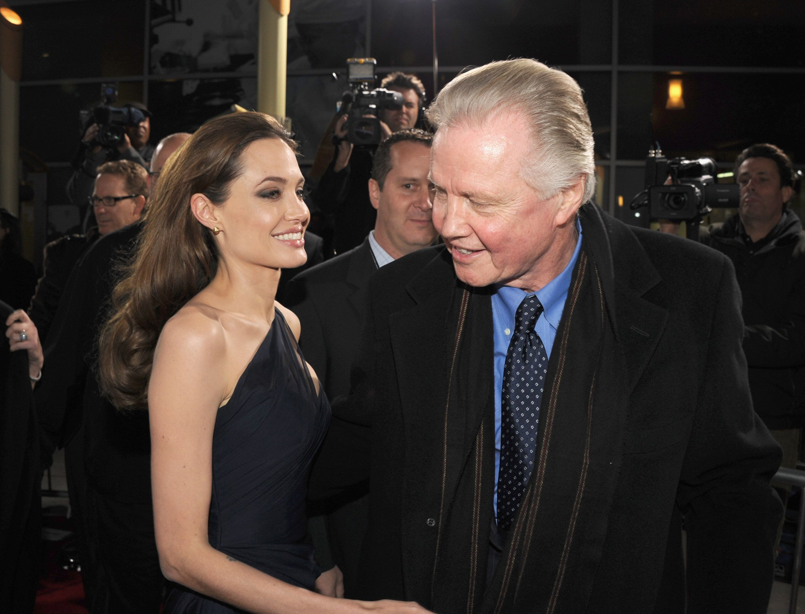 """Angelina Jolie and actorJon Voight arrive at the premiere of FilmDistrict's """"In the Land of Blood and Honey."""" 