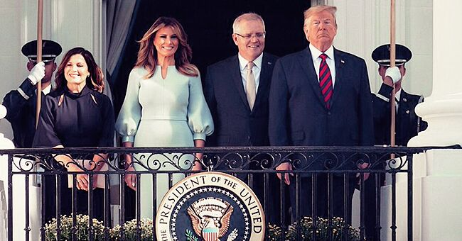 First Lady Melania Trump Looks Classy in Ice Blue Dress as She Welcomes the Australian PM