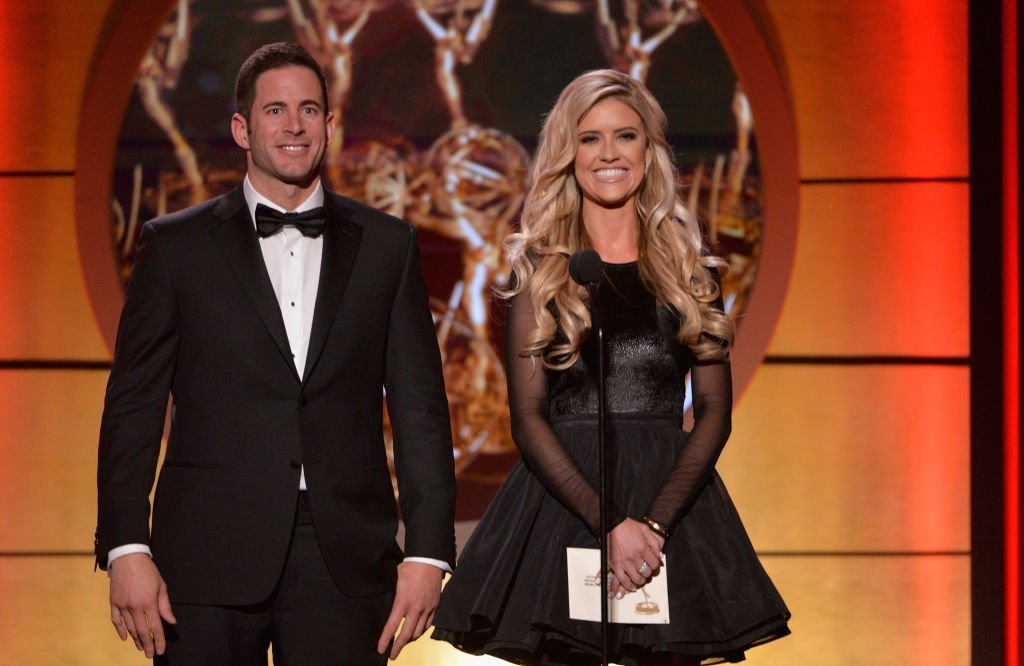 Tarek El Moussa and Christina El Moussa present the award for outstanding entertainment news program at the 44th annual Daytime Emmy Awards at Pasadena Civic Auditorium | Photo: Getty Images