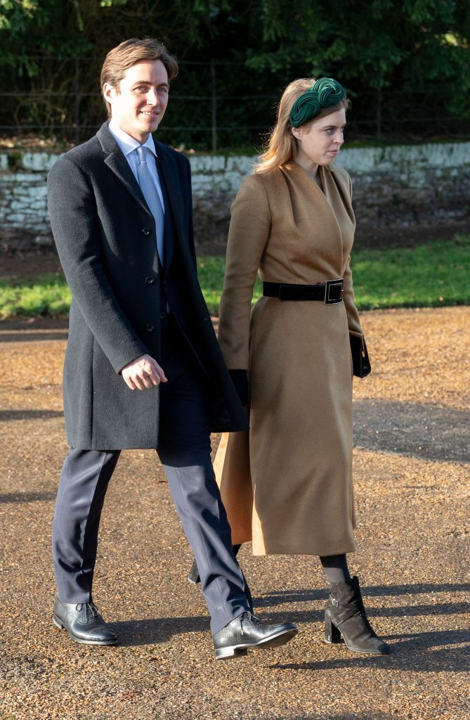Princess Beatrice and Edoardo Mapelli Mozziconi at the Christmas Day Church service on the Sandringham estate on December 25, 2019, in King's Lynn, United Kingdom | Photo: Mark Cuthbert/UK Press/Getty Images