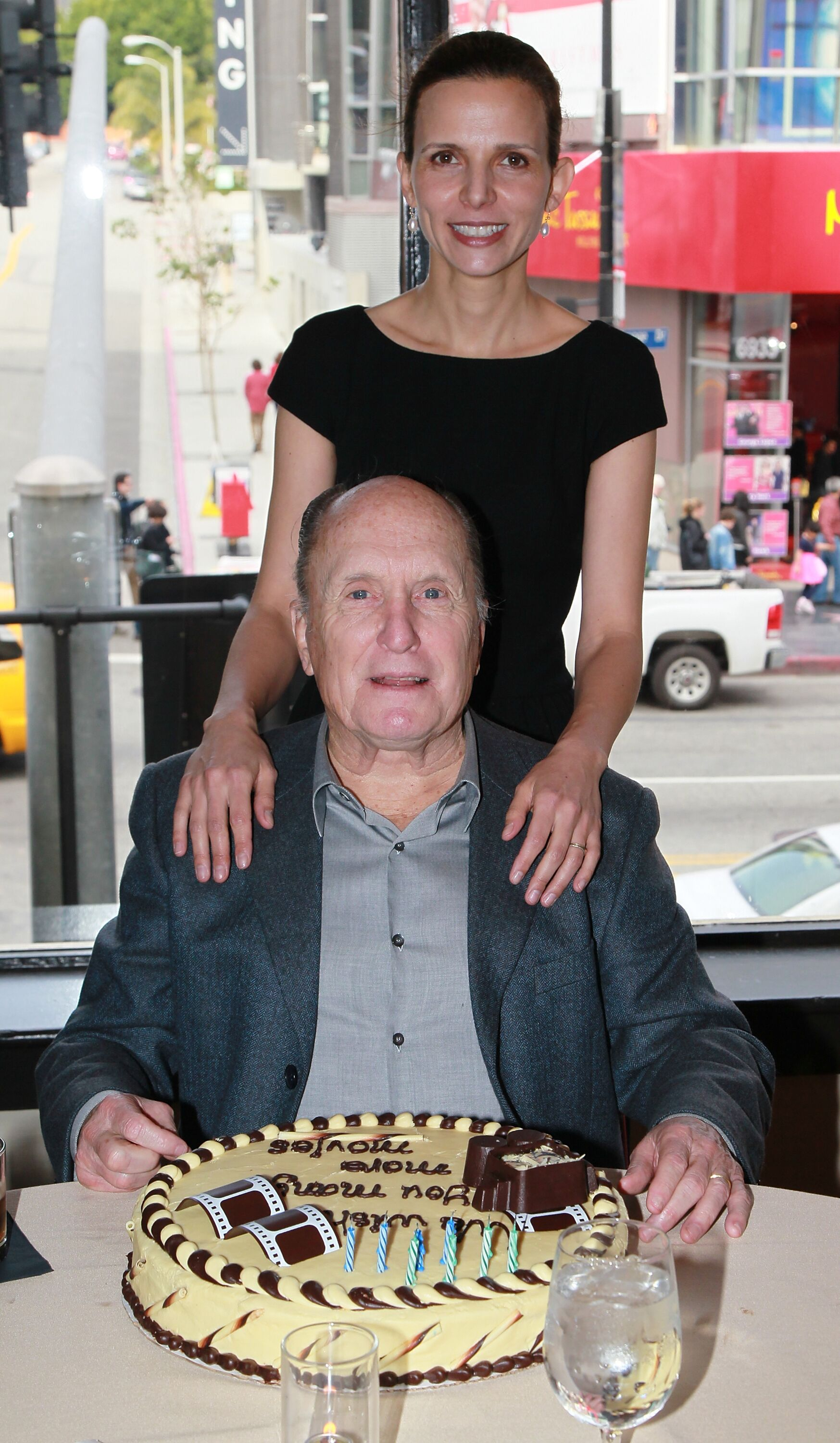 Robert Duvall and Luciana Pedraza at the Hollywood Roosevelt Hotel reception.   Source: Getty Images
