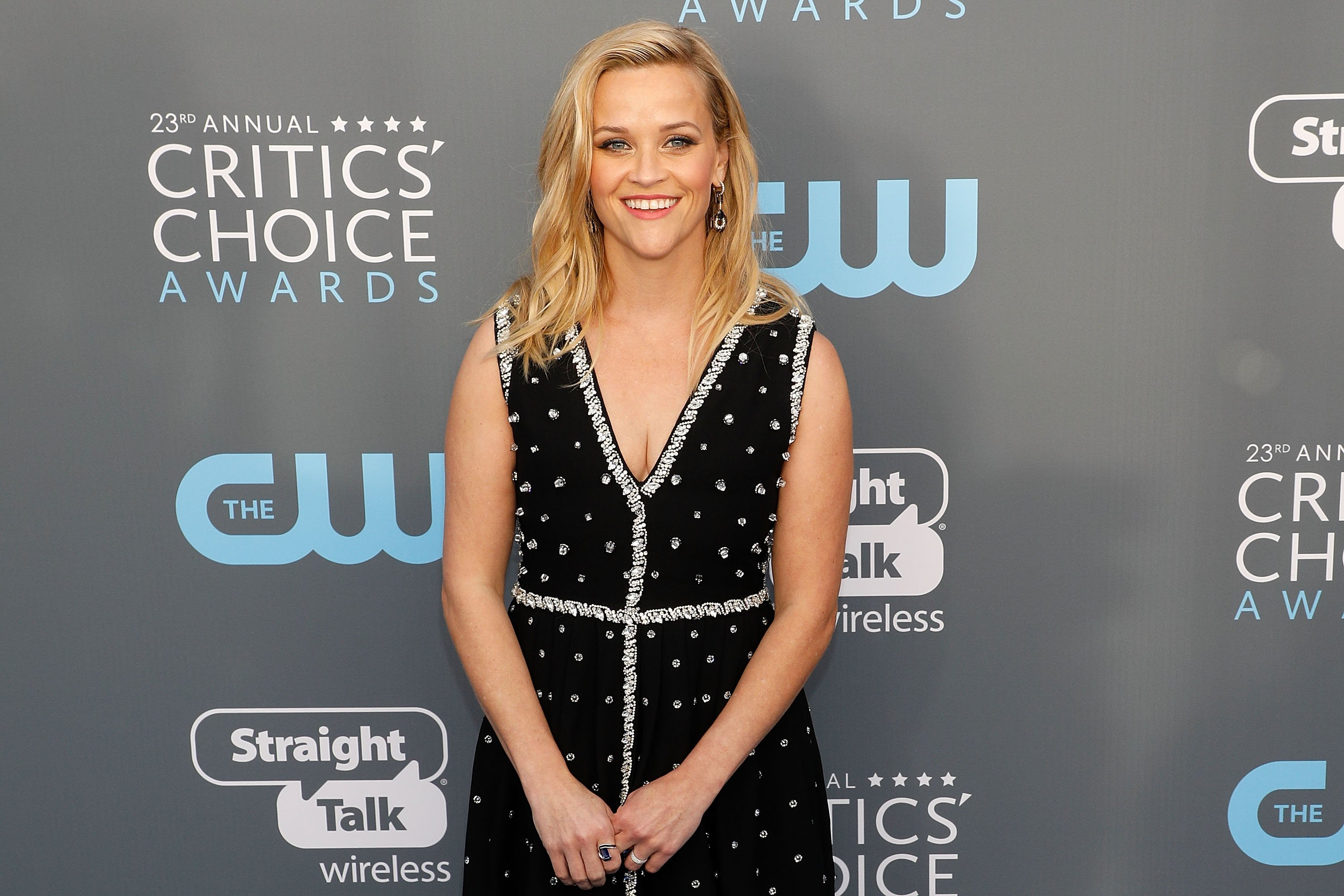 """""""Legally Blonde"""" star Reese Witherspoon attends the 2018 Critics' Choice Awards at Barker Hangar in California. 