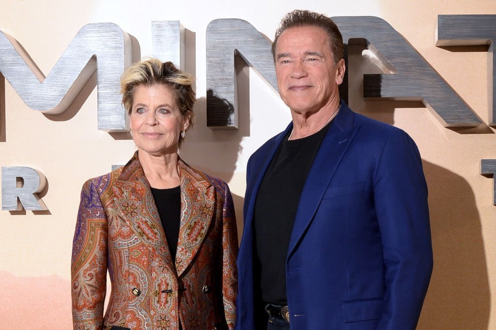 "Linda Hamilton and Arnold Schwarzenegger attend the ""Terminator: Dark Fate"" photocall in London, England. 