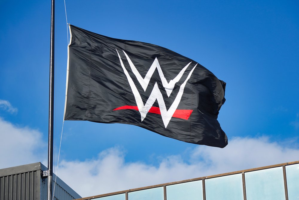 A flag flying at the World Wrestling Entertainment (WWE) headquarters on April 16, 2020, in Stamford, CT | Photo: Shutterstock/Adam McCullough