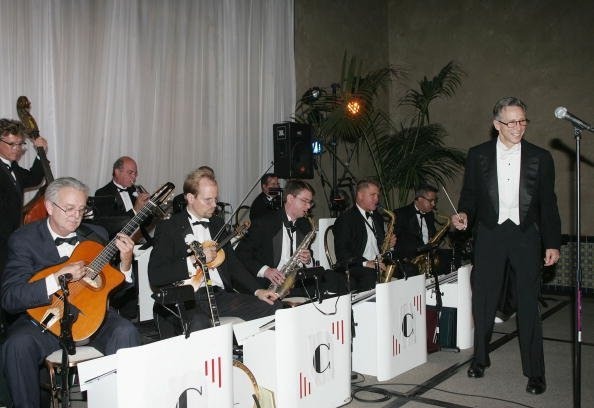 "Johnny Crawford and his orchestra perform at the after party for Encore's ""Bullets Over Hollywood"" at the Roosevelt Hotel on October 20, 2005, in Los Angeles, California.