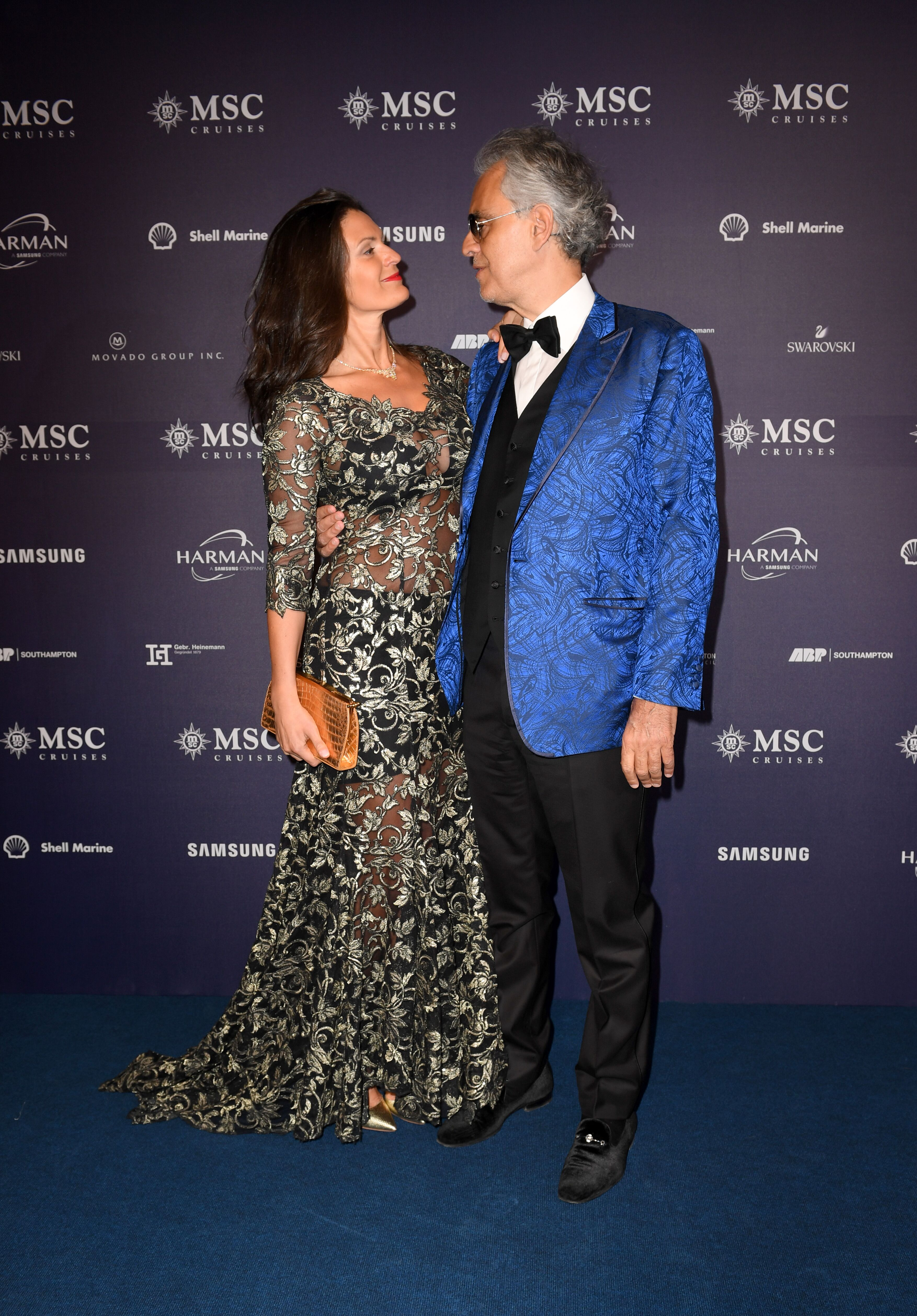 World famous tenor Andrea Bocelli and wife Veronica Berti attend the MSC Bellissima Naming Ceremony | Getty Images / Global Images Ukraine