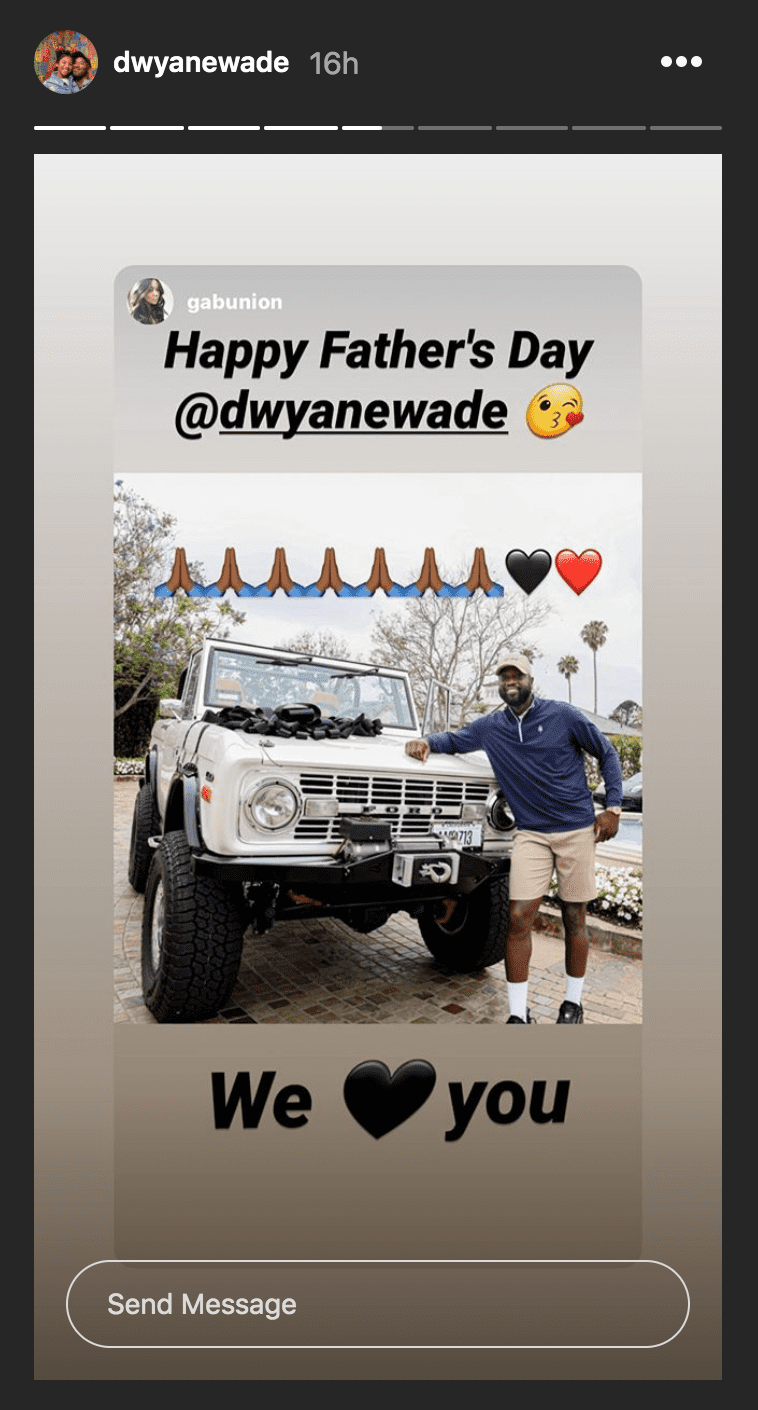 Dwyane Wade stands by a custom bronco gifted to him by his wife, Gabrielle Union   Source: Instagram.com/dwyanewade