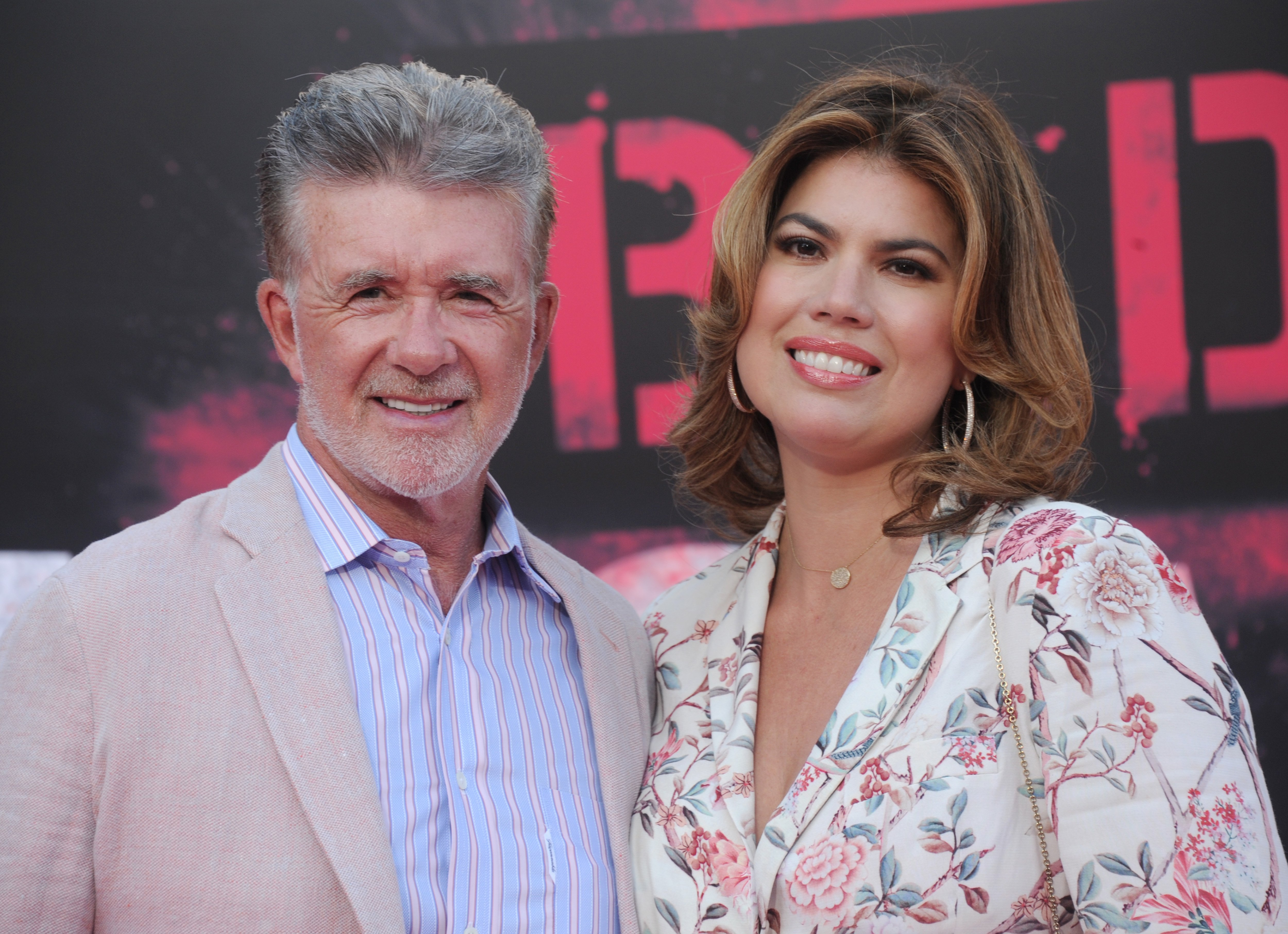 "Alan Thicke and wife Tanya Callau arrive at the premiere of STX Entertainment's ""Bad Moms"" at Mann Village Theatre on July 26, 2016 