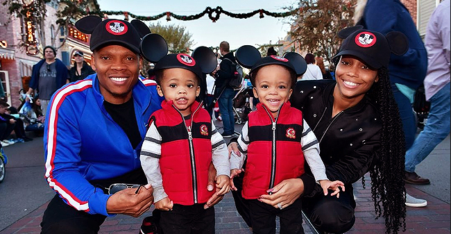 Ronnie and Shamari DeVoe Pose with Their Twin Sons in Matching Mickey Mouse Caps at Disneyland in a New Photo