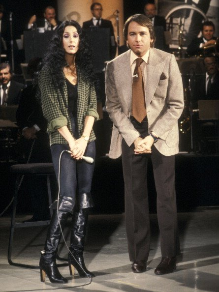 """Singer Cher and actor John Ritter participate in the United Cerebral Palsy's """"Weekend with the Stars"""" Telelthon on February 4, 1978 in Los Angeles, California. 