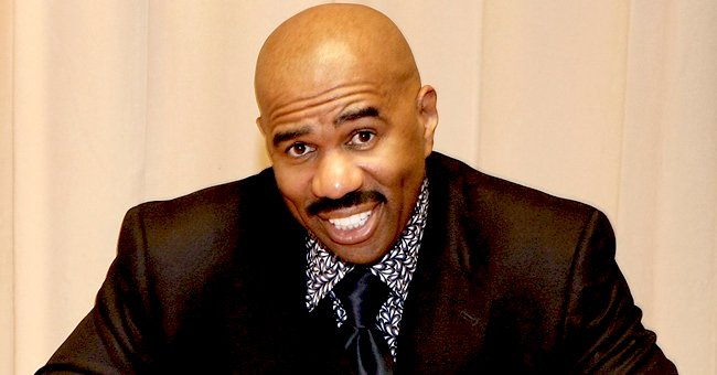 Steve Harvey Looks Cool Rocking a Trendy Animal-Print Jacket Paired with Black Pants (Photo)