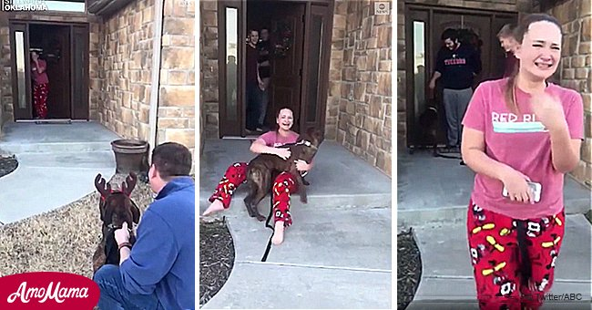 Daughter can't hold back tears as dad secretly adopts dog she cared for at a shelter