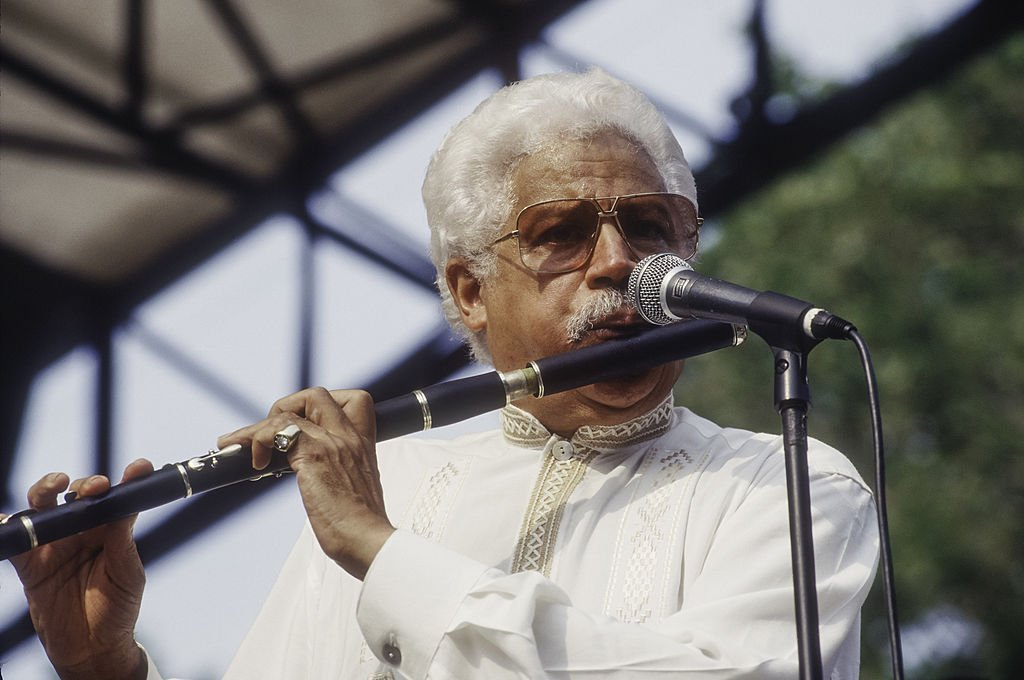 Johnny Pacheco pictured performing with Larry Harlow's Latin Legends band at Central Park SummerStage, 1996, New York.   Photo: Getty Images