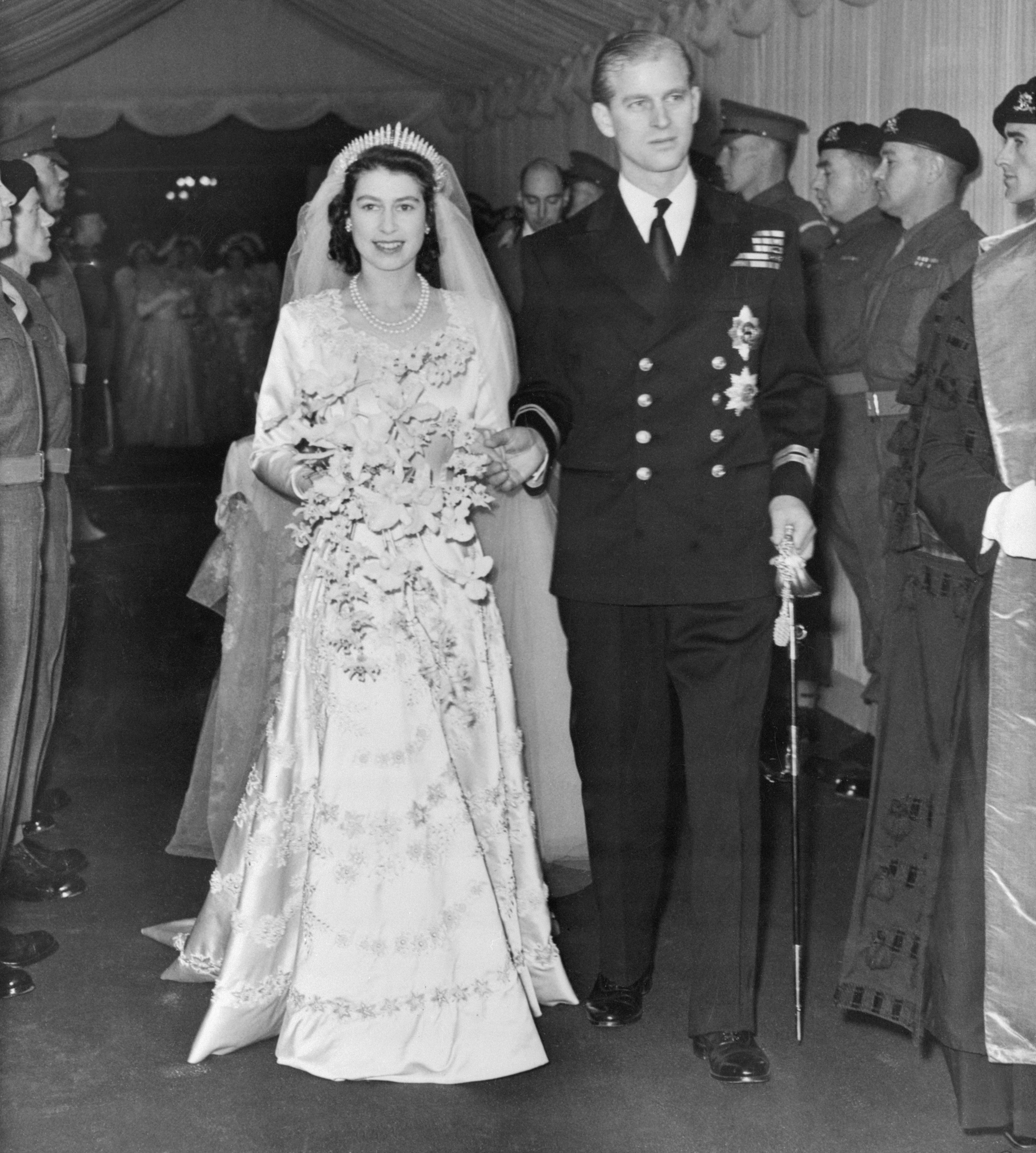 Elizabeth radiates happiness, moments after her marriage to Prince Philip, Duke of Edinburgh   Photo: Getty Images