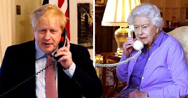 UK Prime Minister Boris Johnson Stands during Weekly Audience with the Queen That Happened by Telephone