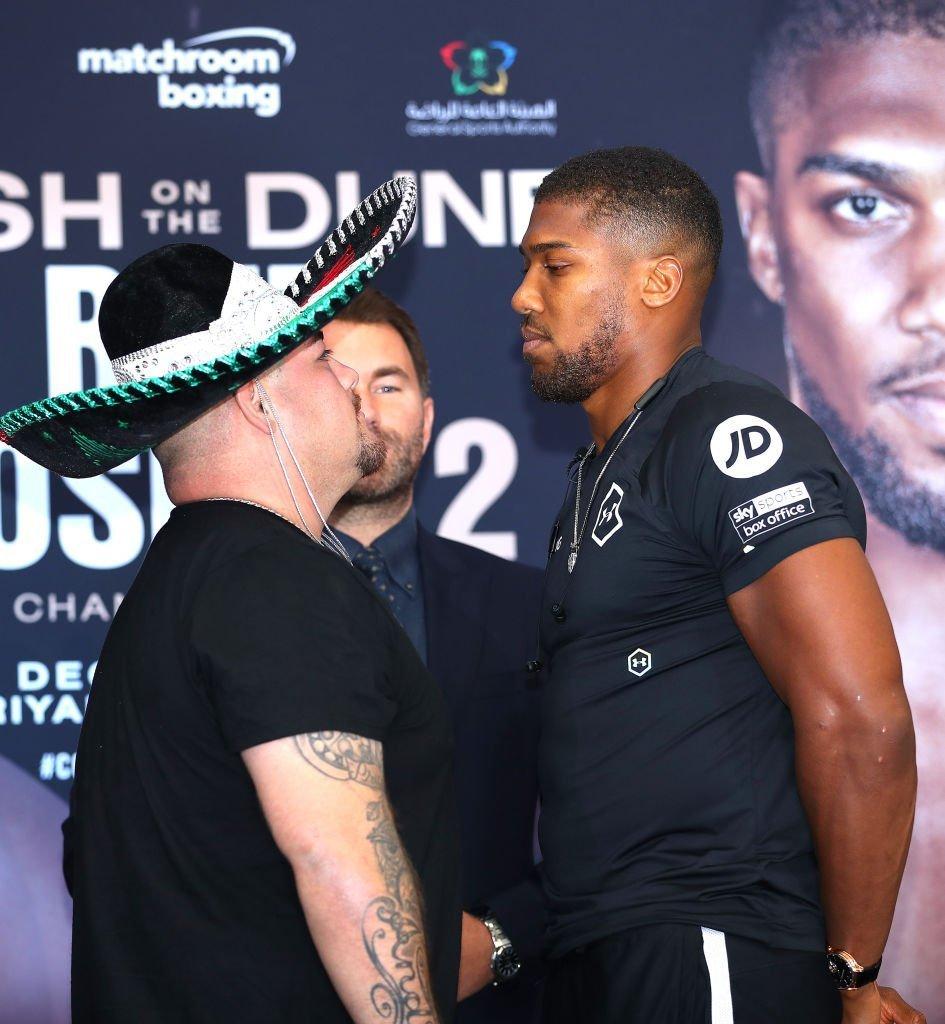 Andy Ruiz Jr. and Anthony Joshua face off at a press conference in London, England on September 6, 2019 | Photo: Getty Images