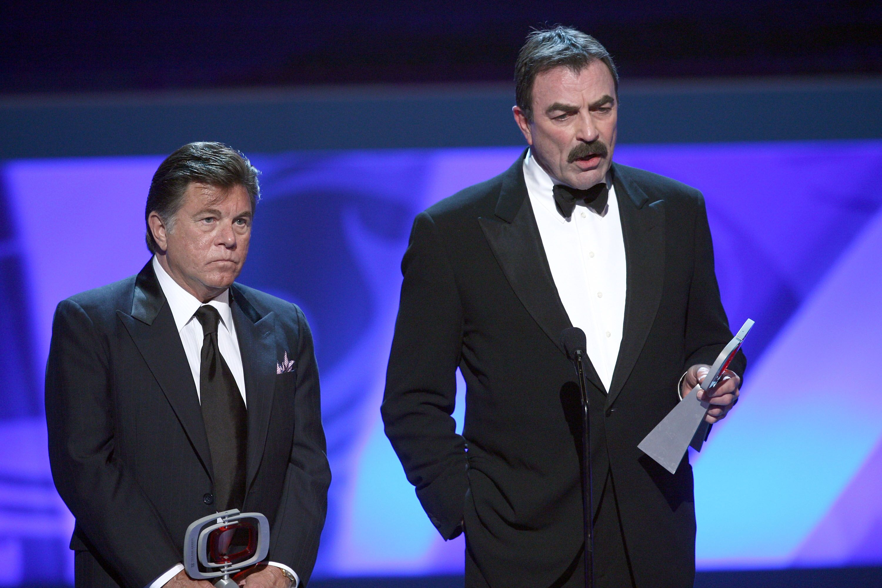 "Larry Manetti and Tom Selleck accept the Hero Award for ""Magnum P.I."" 