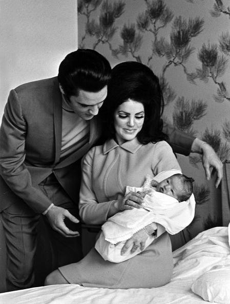 Elvis Presley with his wife Priscilla and their 4 day old Lisa Marie, at the Baptist Hospital in Memphis   Photo: Getty Images