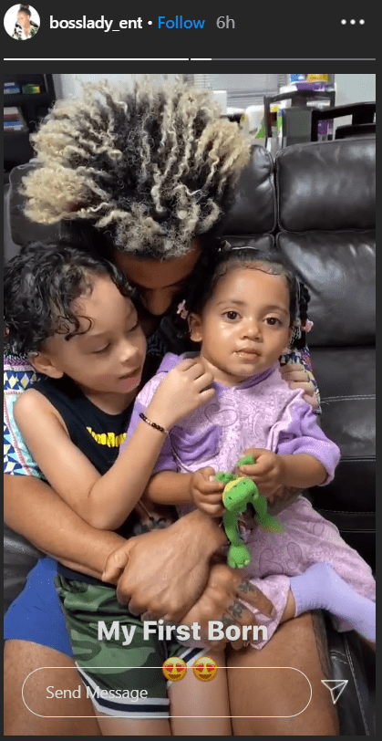 Snoop Dogg and Shante Broadus' son Corde holds his kids, Zion and Elleven. | Source: Instagram/bosslady_ent