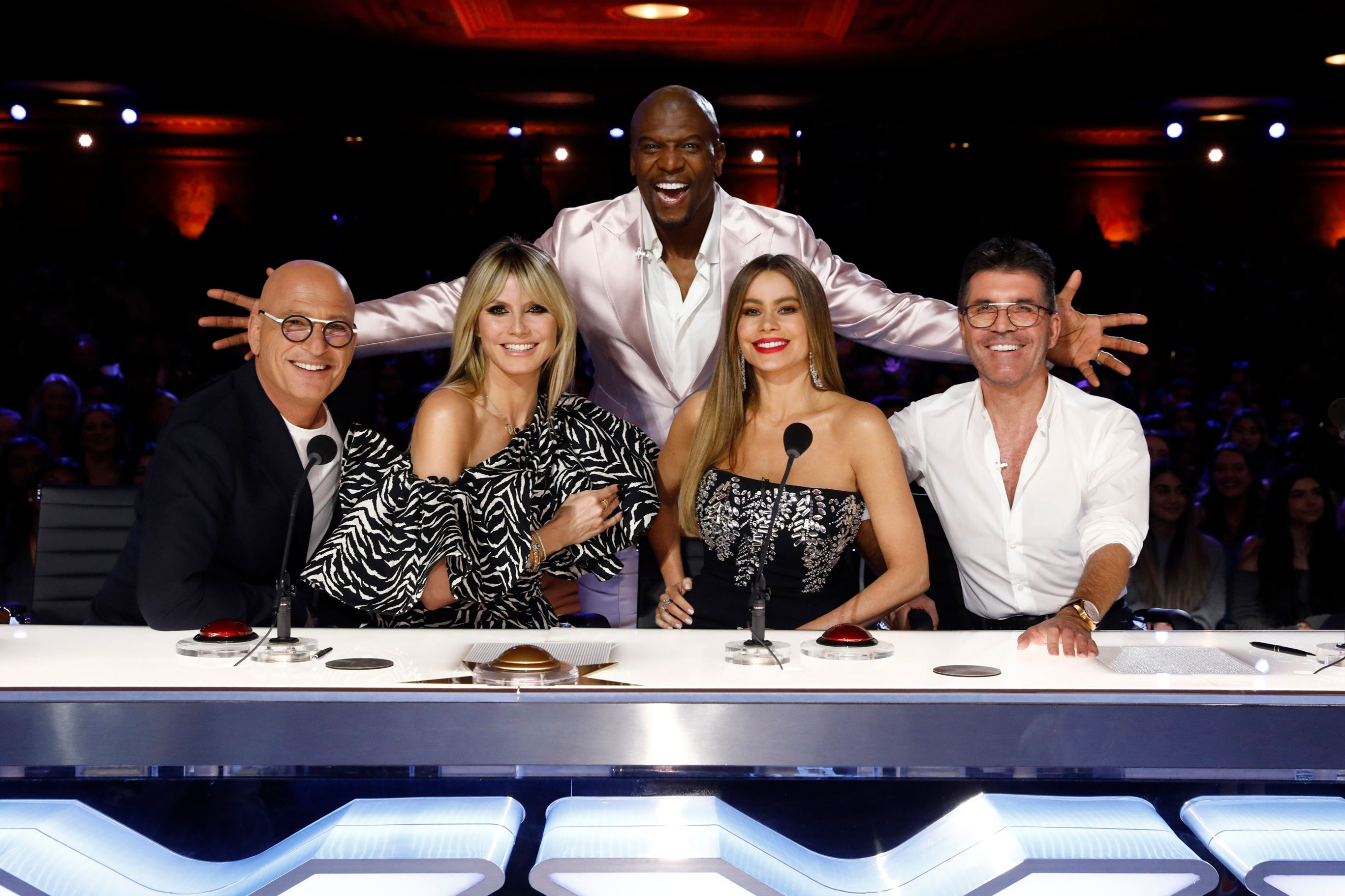 "Howie Mandel, Heidi Klum, Terry Crews, Sofia Vergara, and Simon Cowell on ""America's Got Talent"" auditions on March 02, 2020 